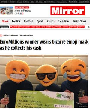 Emoji mask lottery winners
